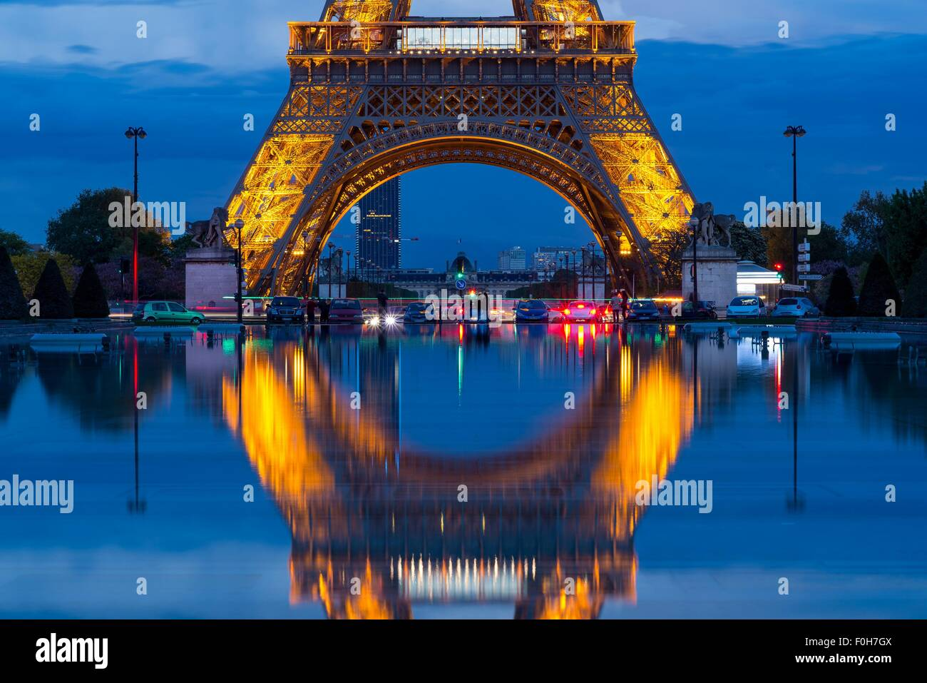 eiffel tower close up shot from the trocadero gardens - Stock Image