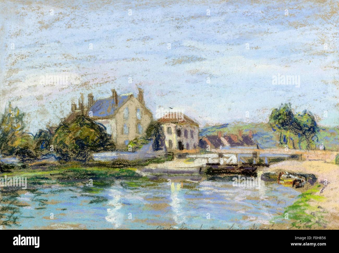 Alfred Sisley - Maisons au Bord de l'Écluse de la Gazonne - Stock Image