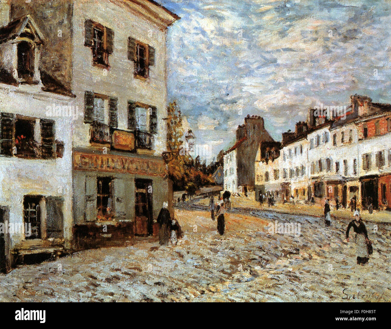 Alfred Sisley - Place du Marché à Marly - Stock Image
