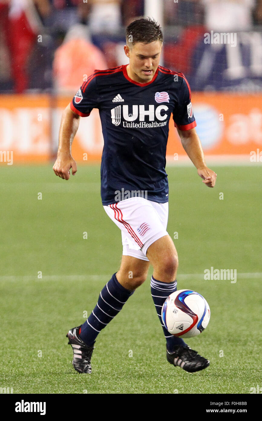 August 15, 2015; Foxborough, MA, USA; New England Revolution midfielder Kelyn Rowe (11) in action during the second Stock Photo
