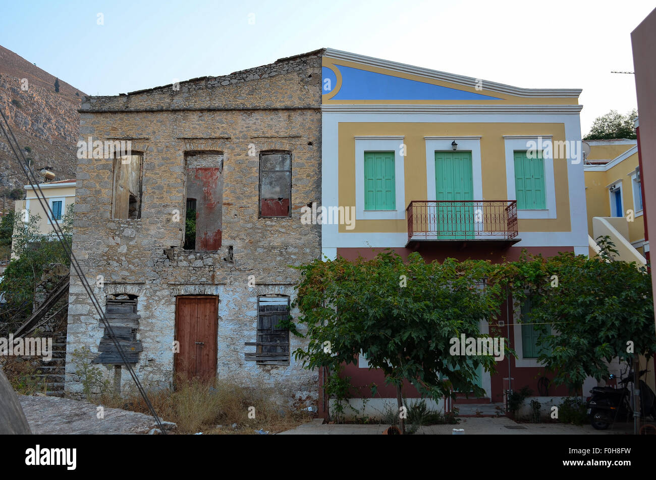 Buildings on the Greek island of Symi highlighting recent