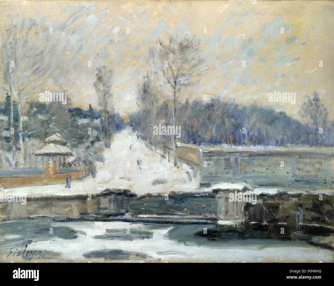 Alfred Sisley - The Watering Place at Marly le Roi - Stock Image