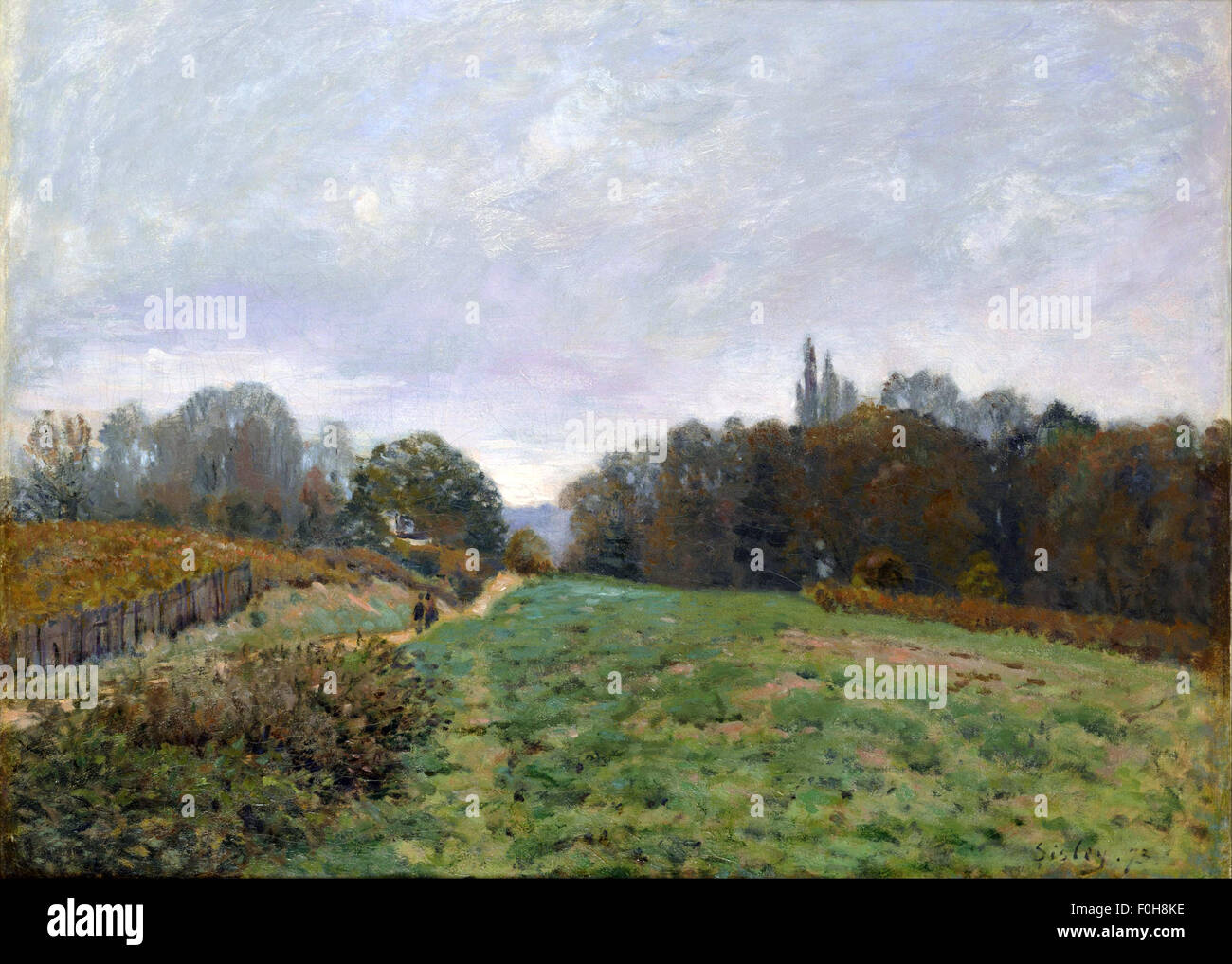 Alfred Sisley - Landscape at Louveciennes - Stock Image