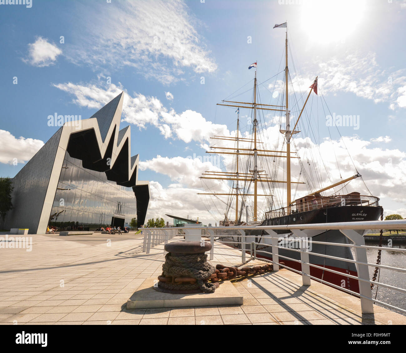 The Tall Ship moored outside the Riverside Museum, Glasgow, Scotland, UK - Stock Image