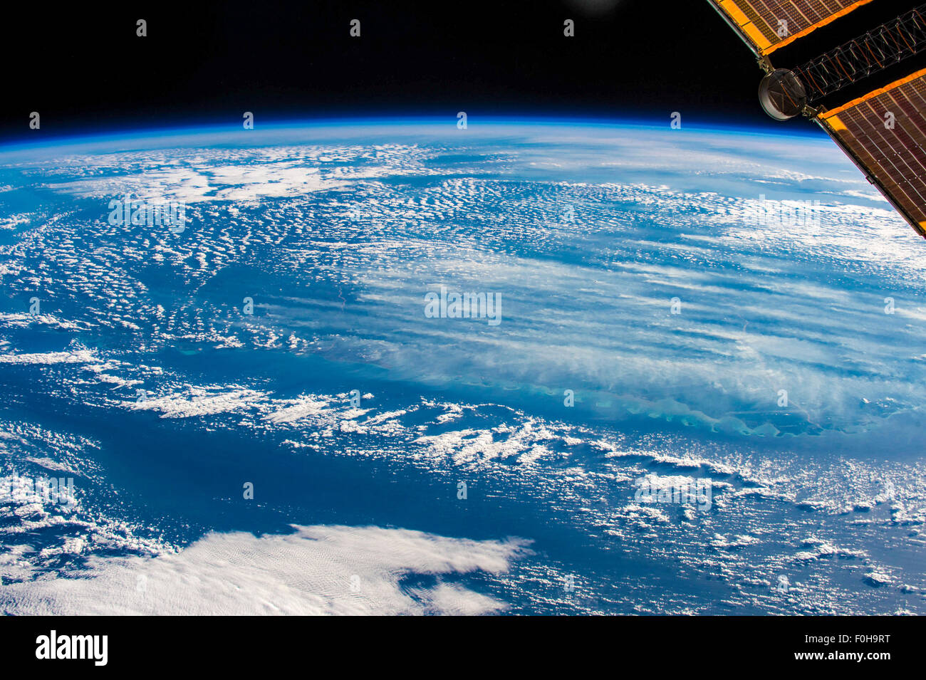 Planet Earth and view from the International Space Station ISS. Elements of this image provided by NASA - Stock Image