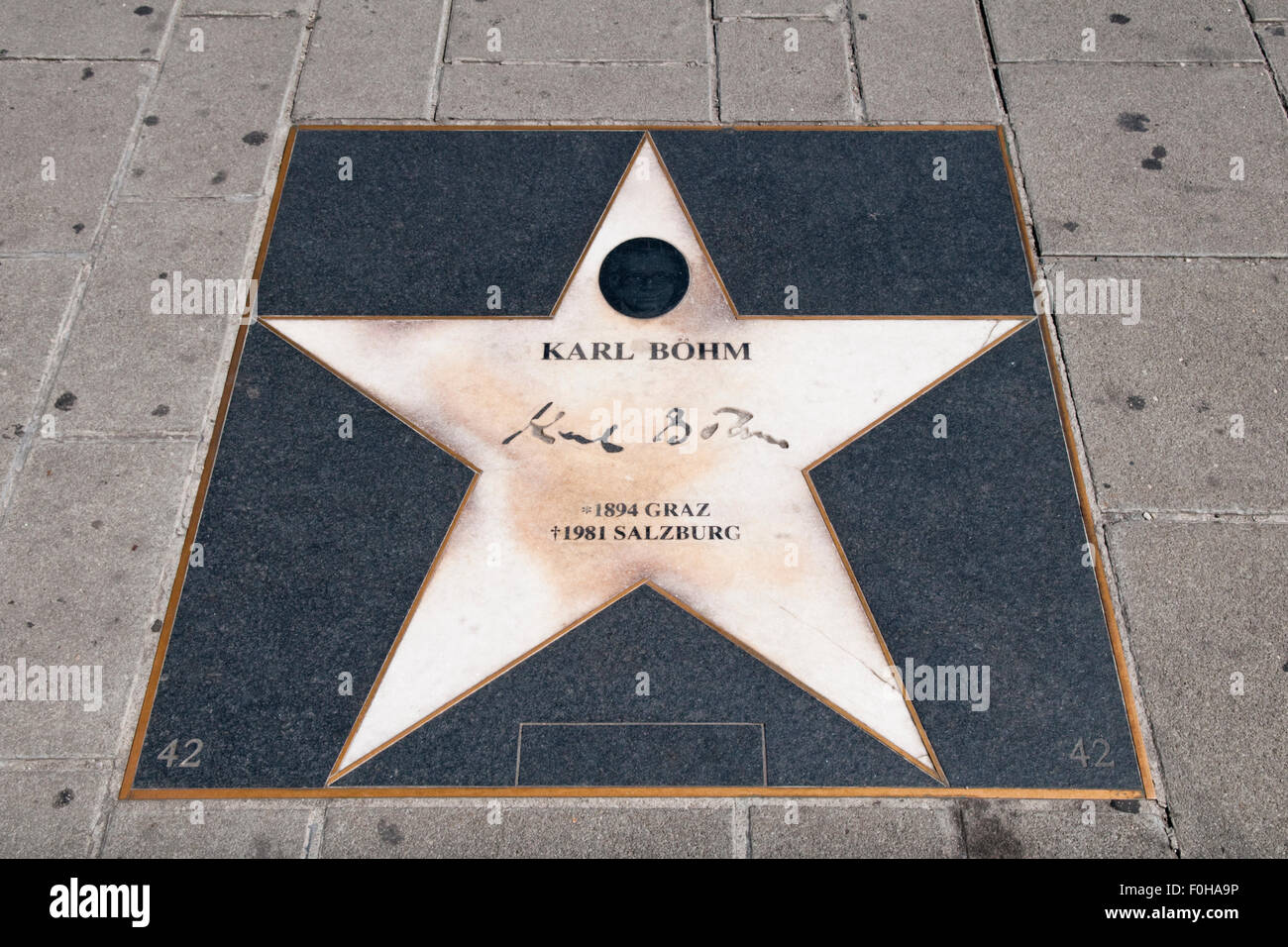 A Hollywood style star commemorating the Austrian conductor Karl August Leopold Böhm in Vienna, Austria - Stock Image
