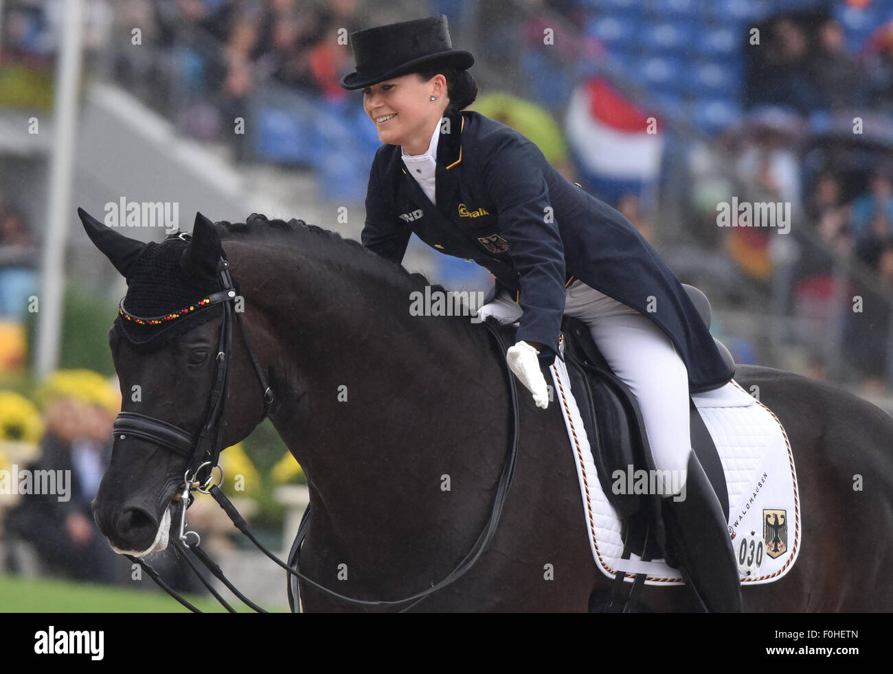 Kristina Broering Sprehe Of Germany Gestures On Her Horse Desperados Stock Photo Alamy