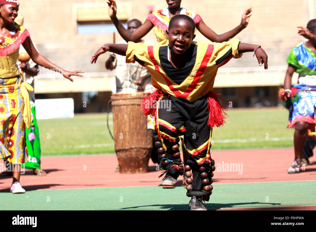 Kampala, Uganda. 16th August, 2015. Traditional dancers perform during the launch of the East Africa Military Games Stock Photo