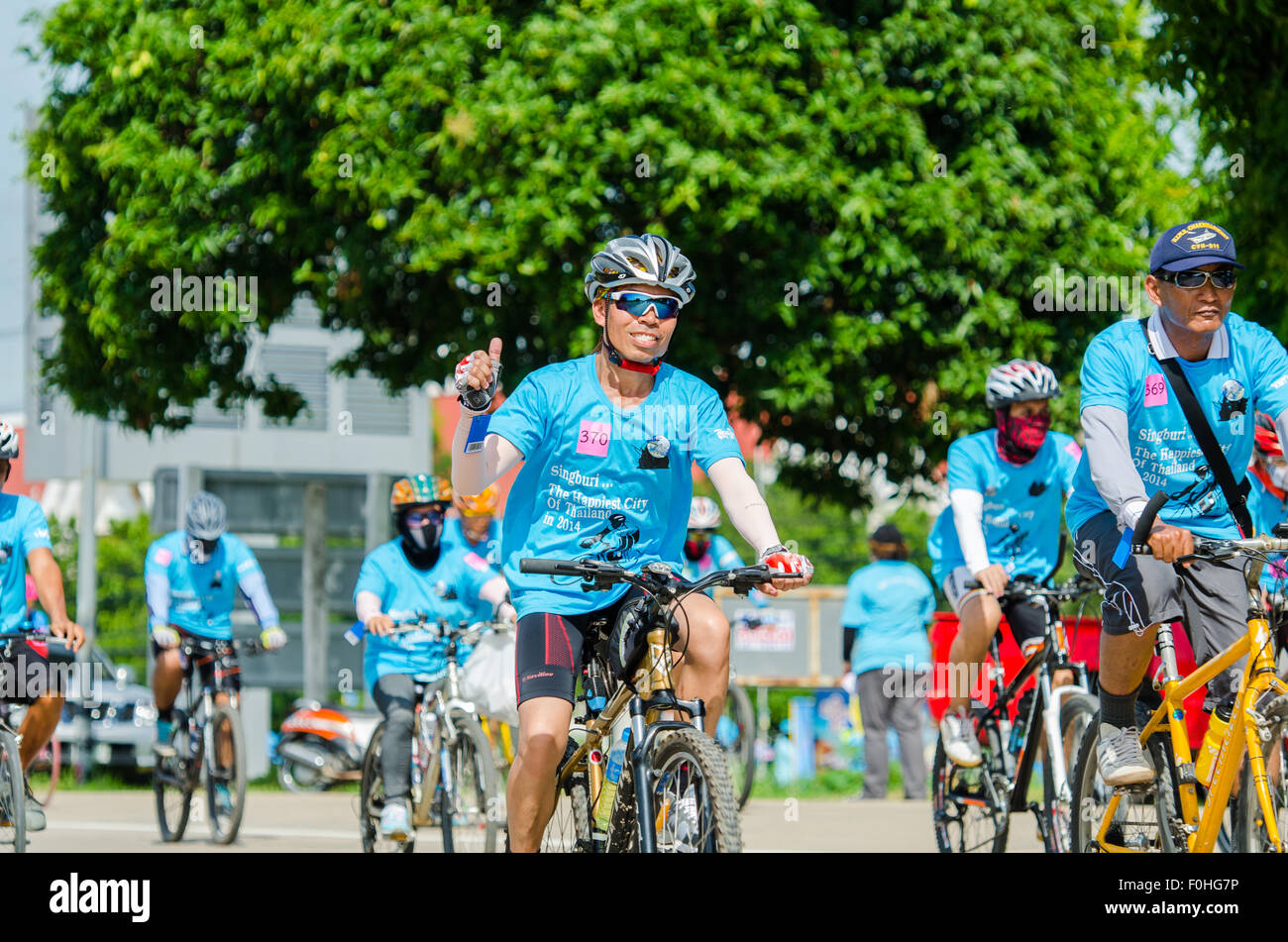 SINGBURI AUGUST 16 : Unidentified Cyclist in prepared for 'Bike for mom event', event show respected to - Stock Image
