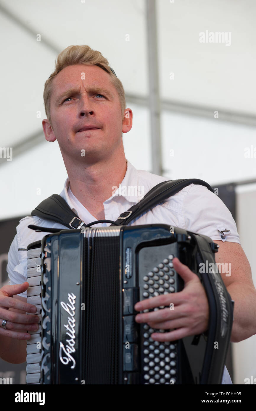 Crieff, Scotland, 16th of August 2015. The popular folk band Skerryvore from the Isle of Tiree performed at the Stock Photo