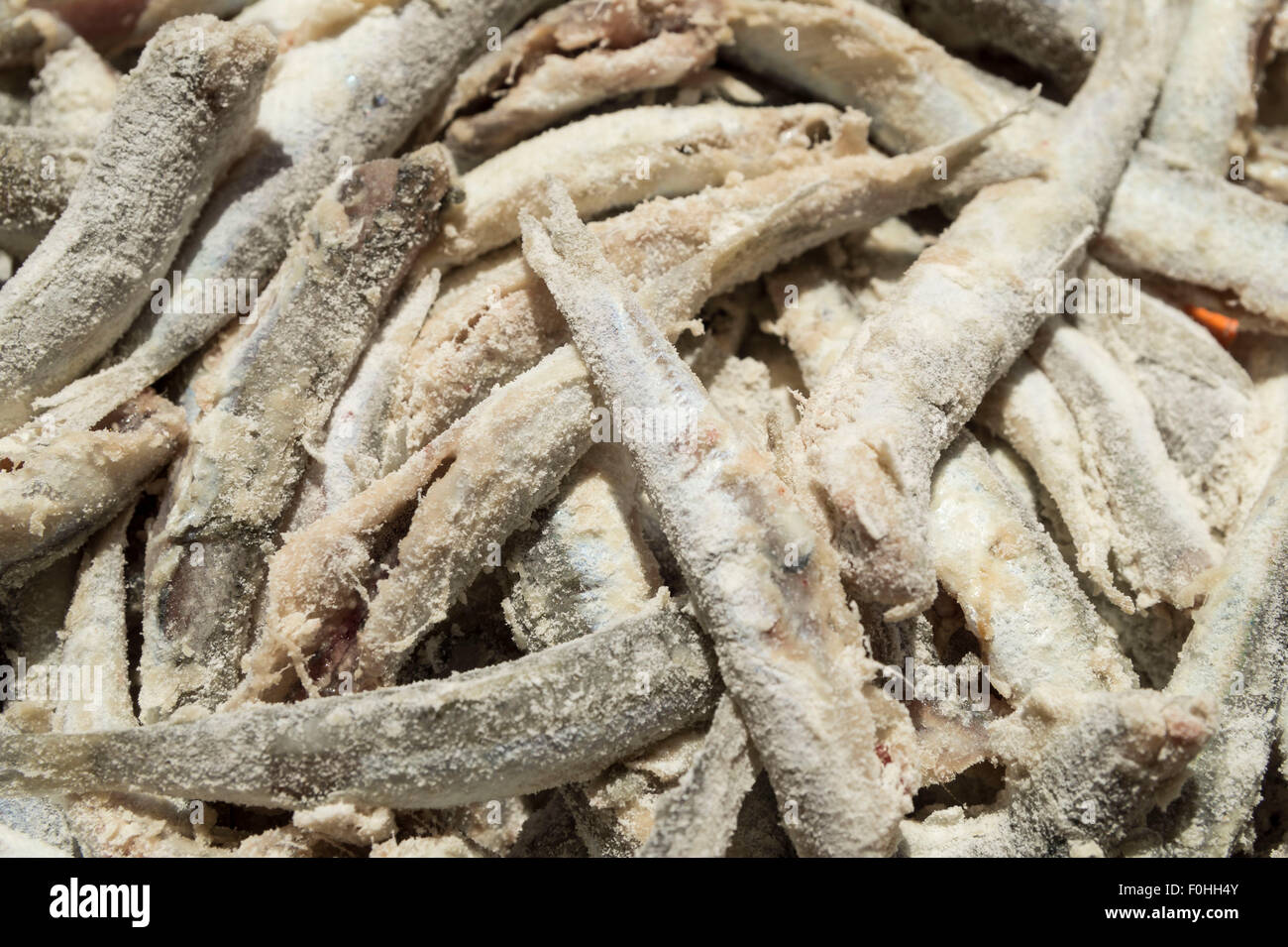 Simply food ,simply cooking - anchovies cleaned and sprinkled with flour - Stock Image