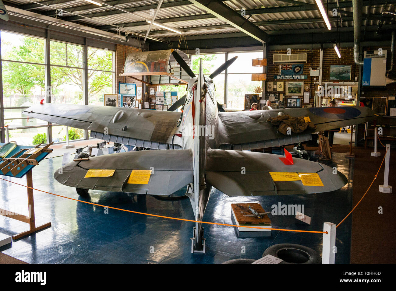 RAF Manston Spitfire museum, Spitfire XVI, view from tailplane and interior of museum - Stock Image