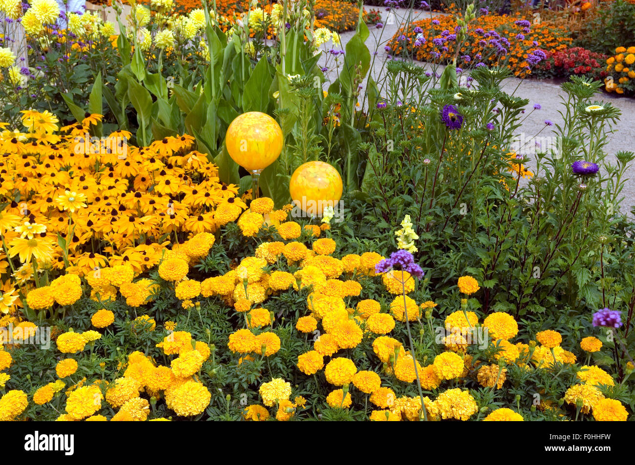 Rosenkugeln Blumenbeet Stock Photo 86438797 Alamy