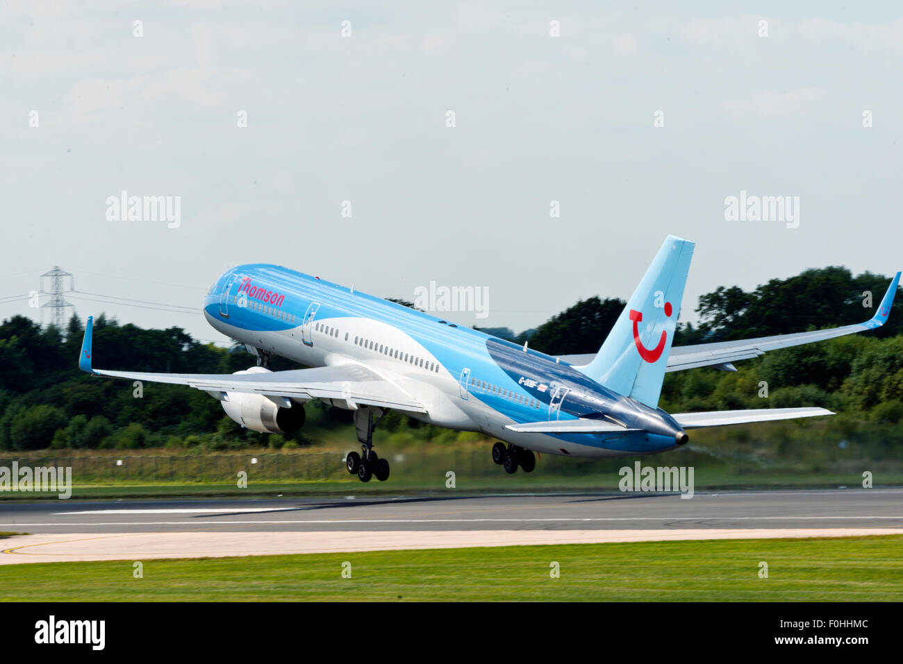 Boeing 757 G-OOBF Thomson Airways Manchester Airport England UK departure - Stock Image