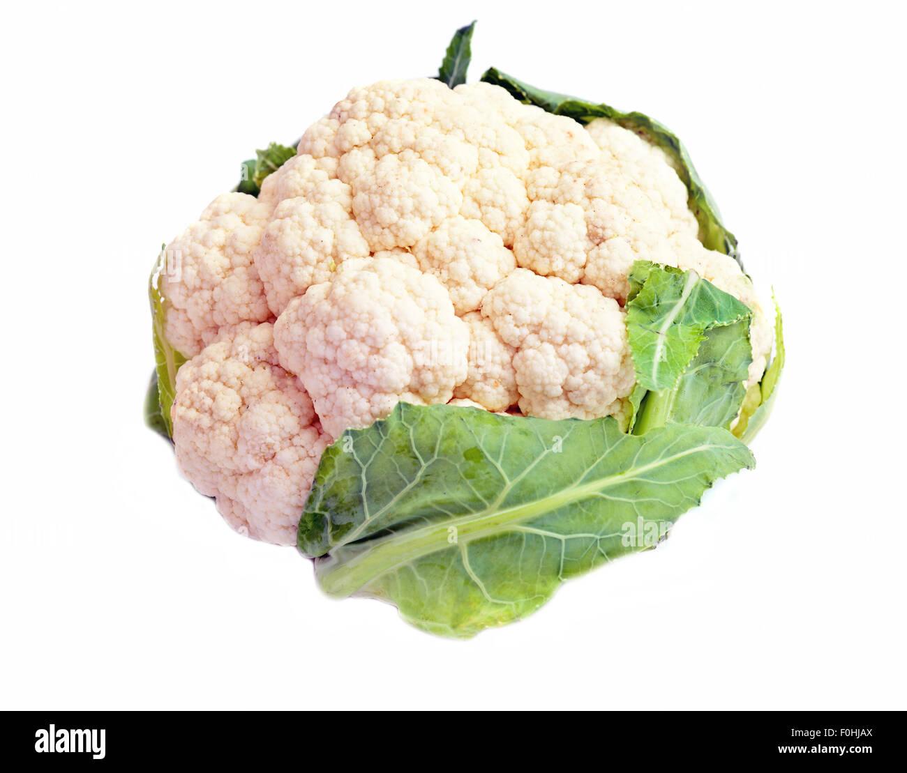 Cauliflower isolated on white background - Stock Image