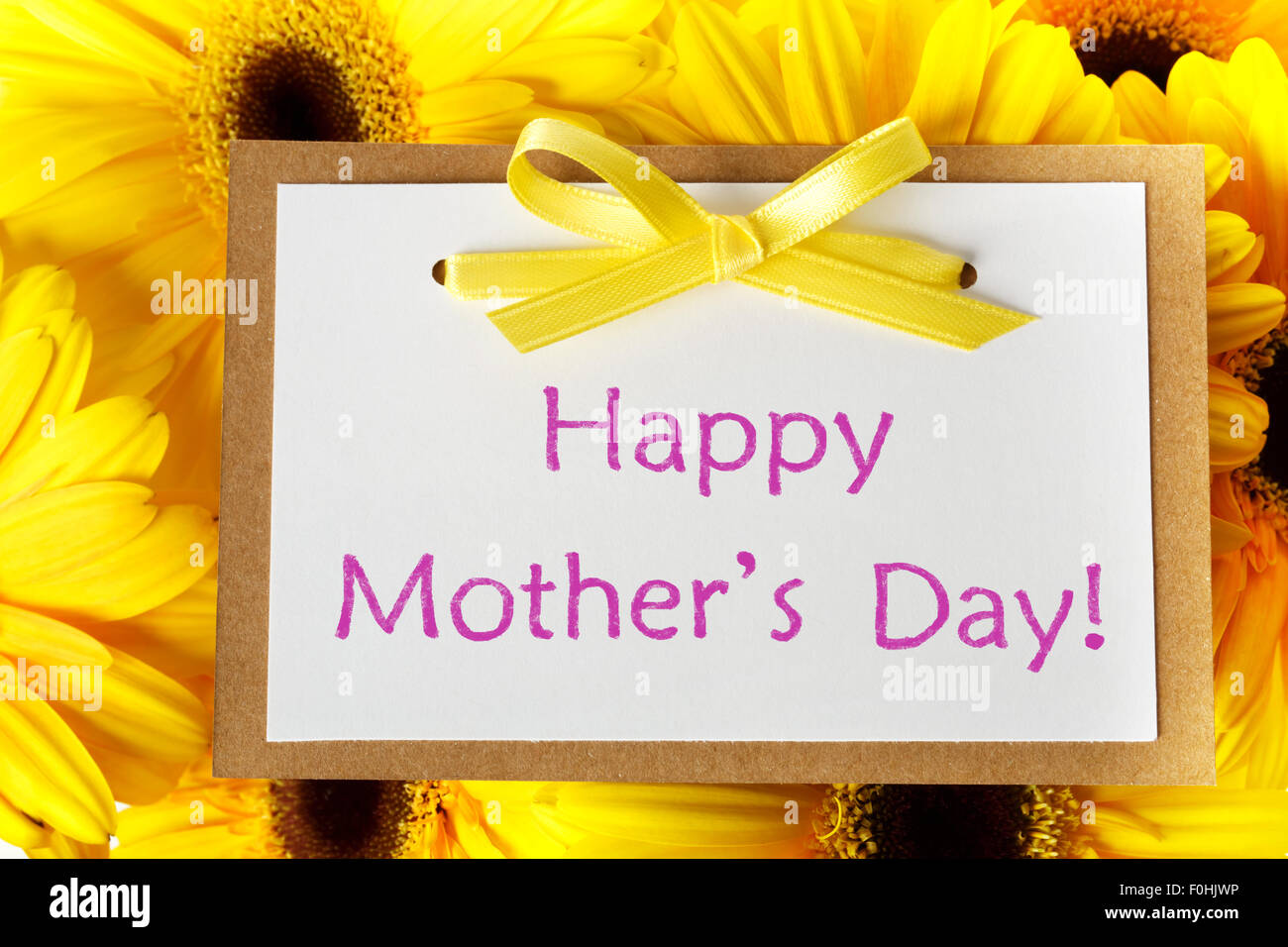 Mothers Day Message Card With Yellow Gerberas Stock Photo 86439858