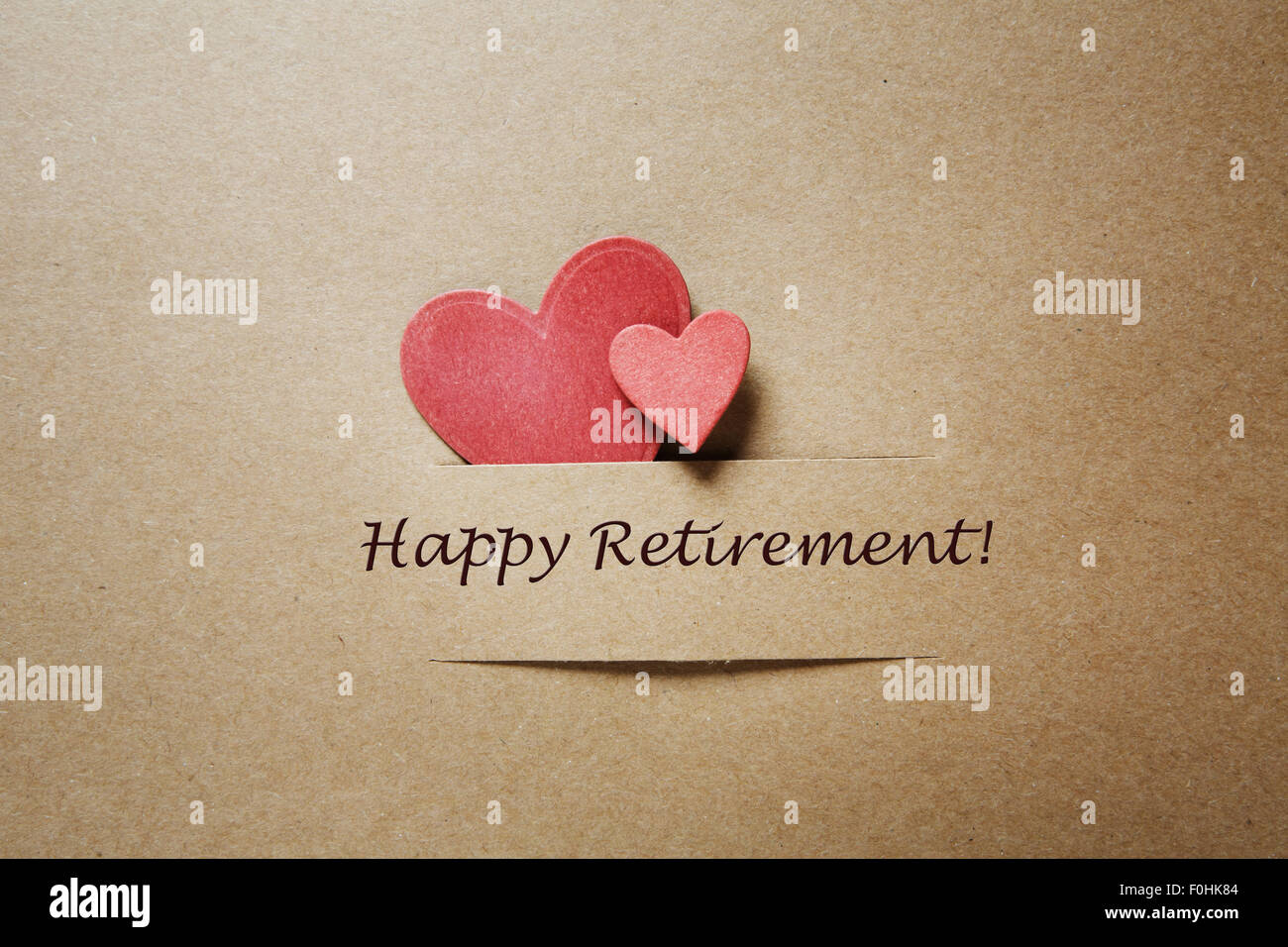 Happy retirement greeting card stock photos happy retirement happy retirement message card with small red hearts stock image m4hsunfo