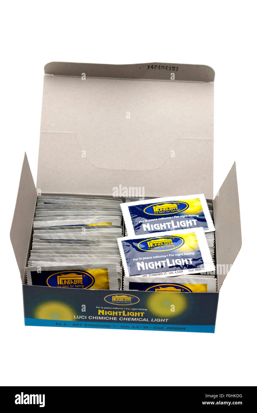 Box of lineaeffe chemical light for night fishing - Stock Image