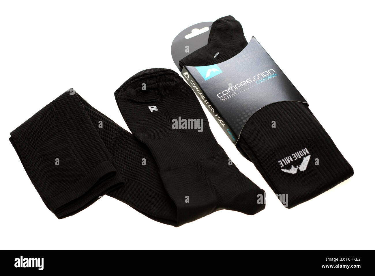 Two pairs of mens size 11 to 13 compression socks - Stock Image