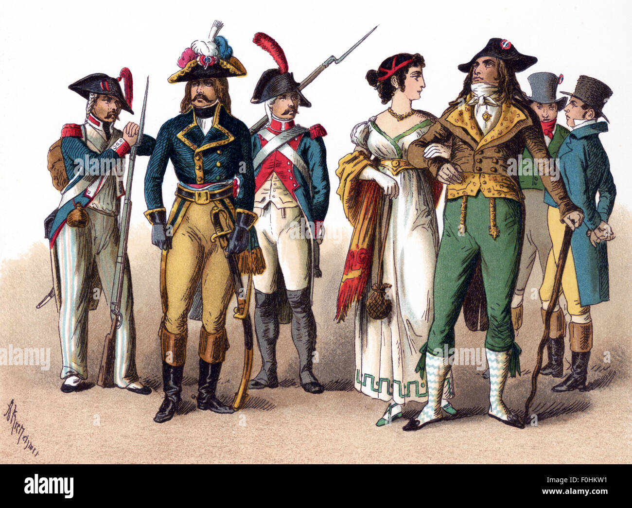 The figures illustrated here represent French people between 1790 and 1804. They are, from left to right: Grenadier - Stock Image