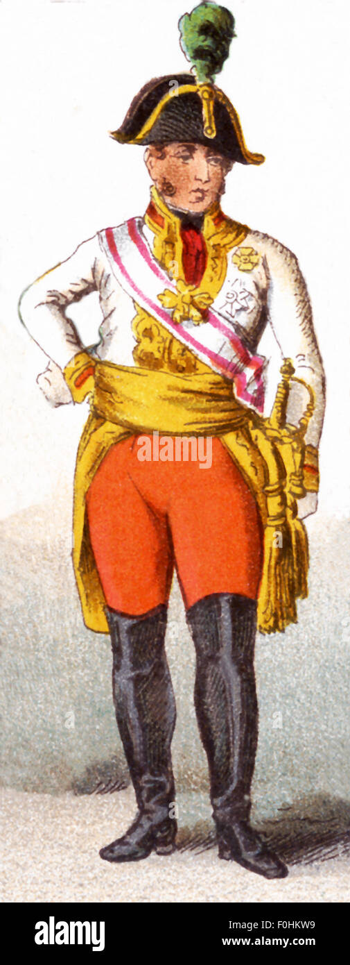The figure pictured here represents an  Austrian Field Marshal 1809. The illustration dates to 1882. - Stock Image