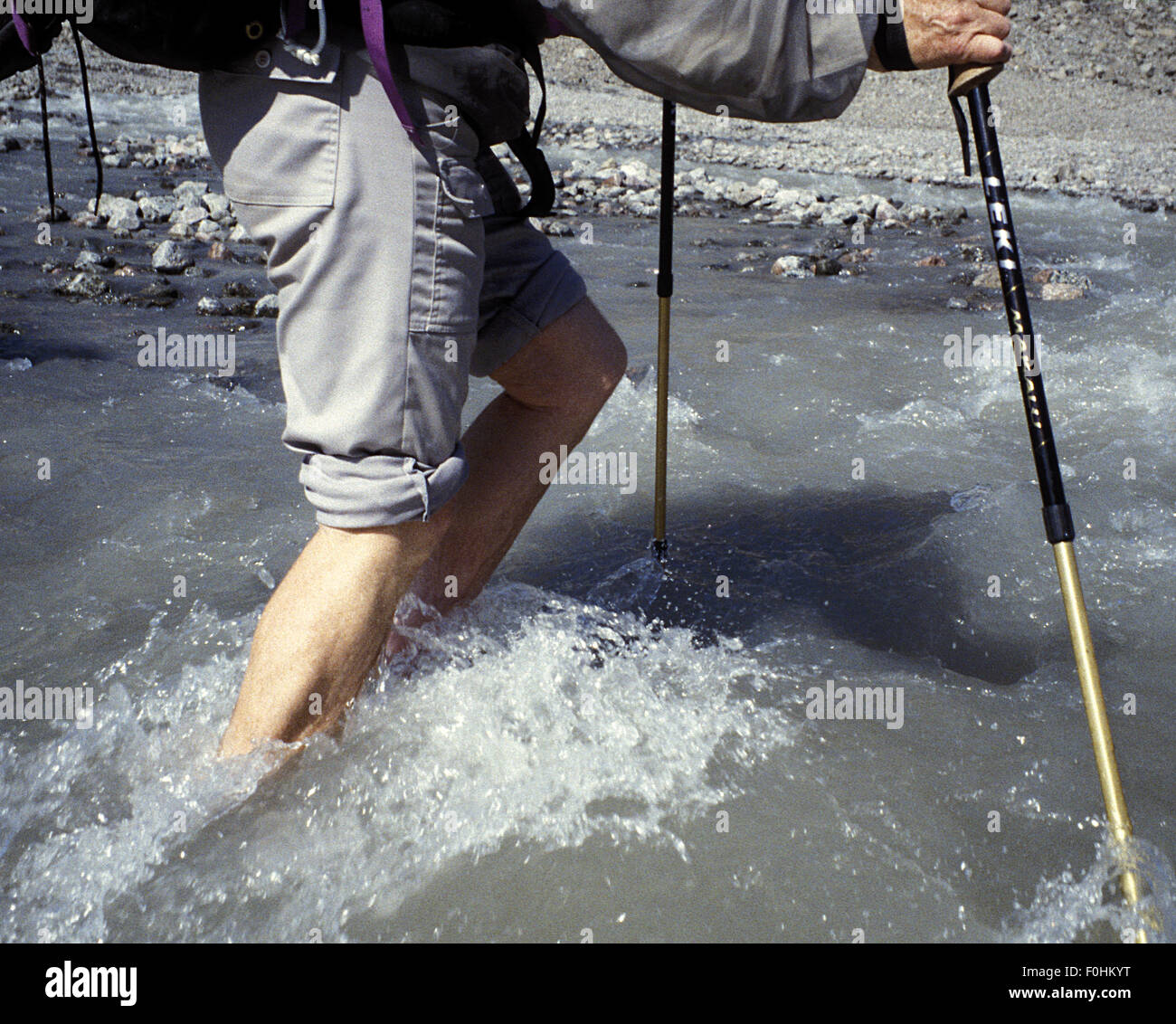 Stream Crossing on Baffin Island Stock Photo