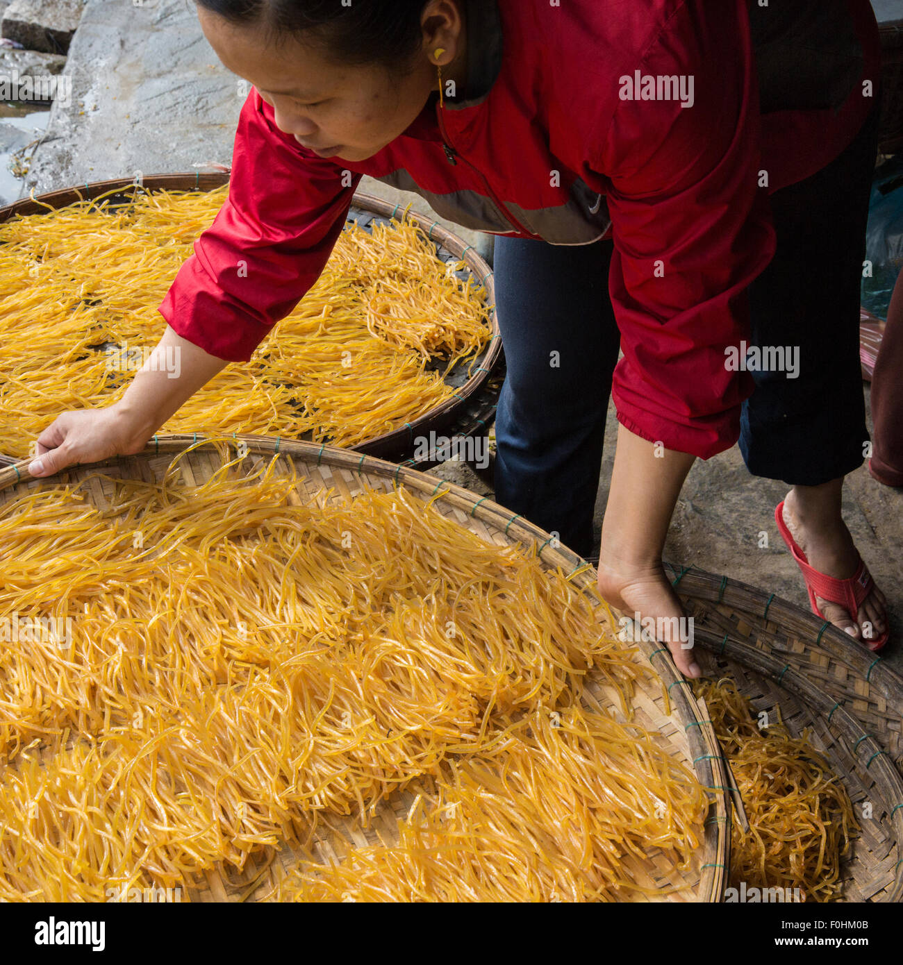 Woman in red blouse holding round tray of drying noodles at Central Food Market in Hoi An, Vietnam - Stock Image