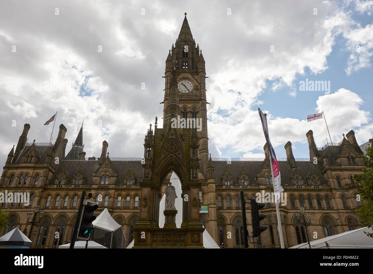 albert square and Manchester town hall England UK - Stock Image