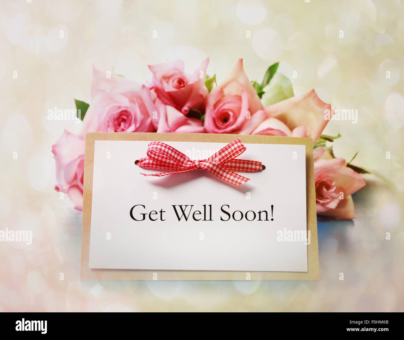 Hand Made Get Well Soon Greeting Card With Roses Stock Photo
