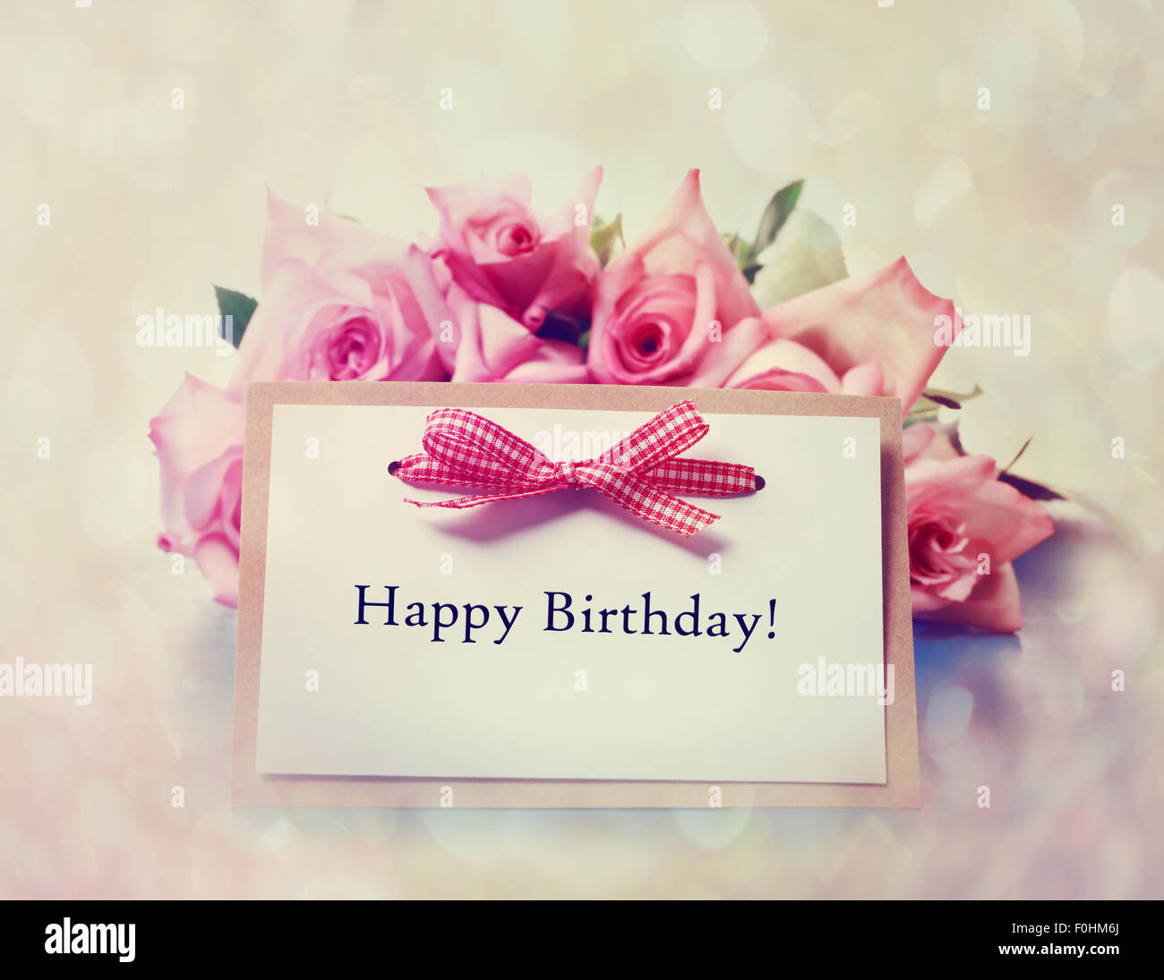 Happy Birthday Message Card With Retro Pink Roses Stock Photo