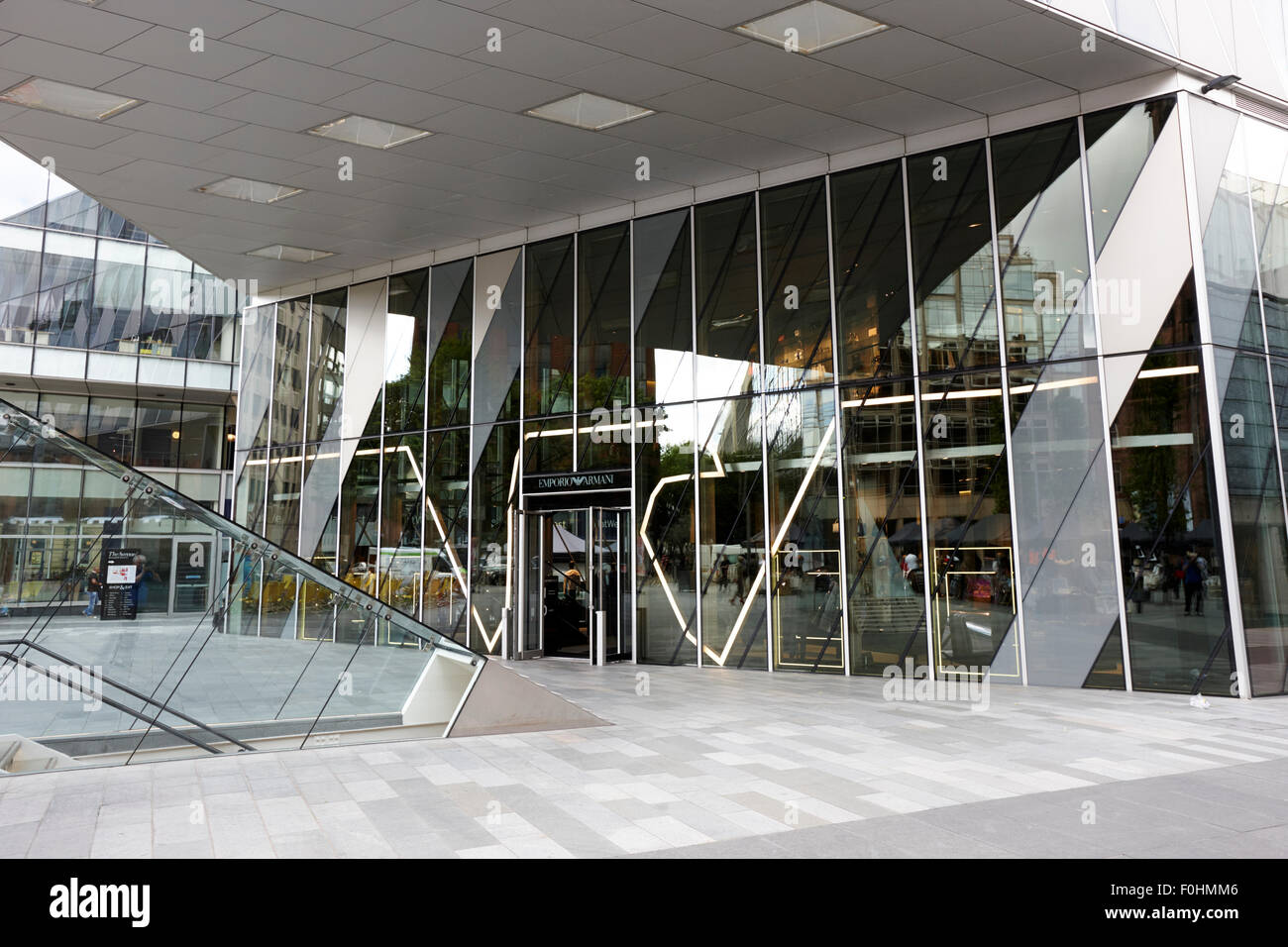 emporio armani fashion store in the avenue building spinningfields Manchester England UK - Stock Image