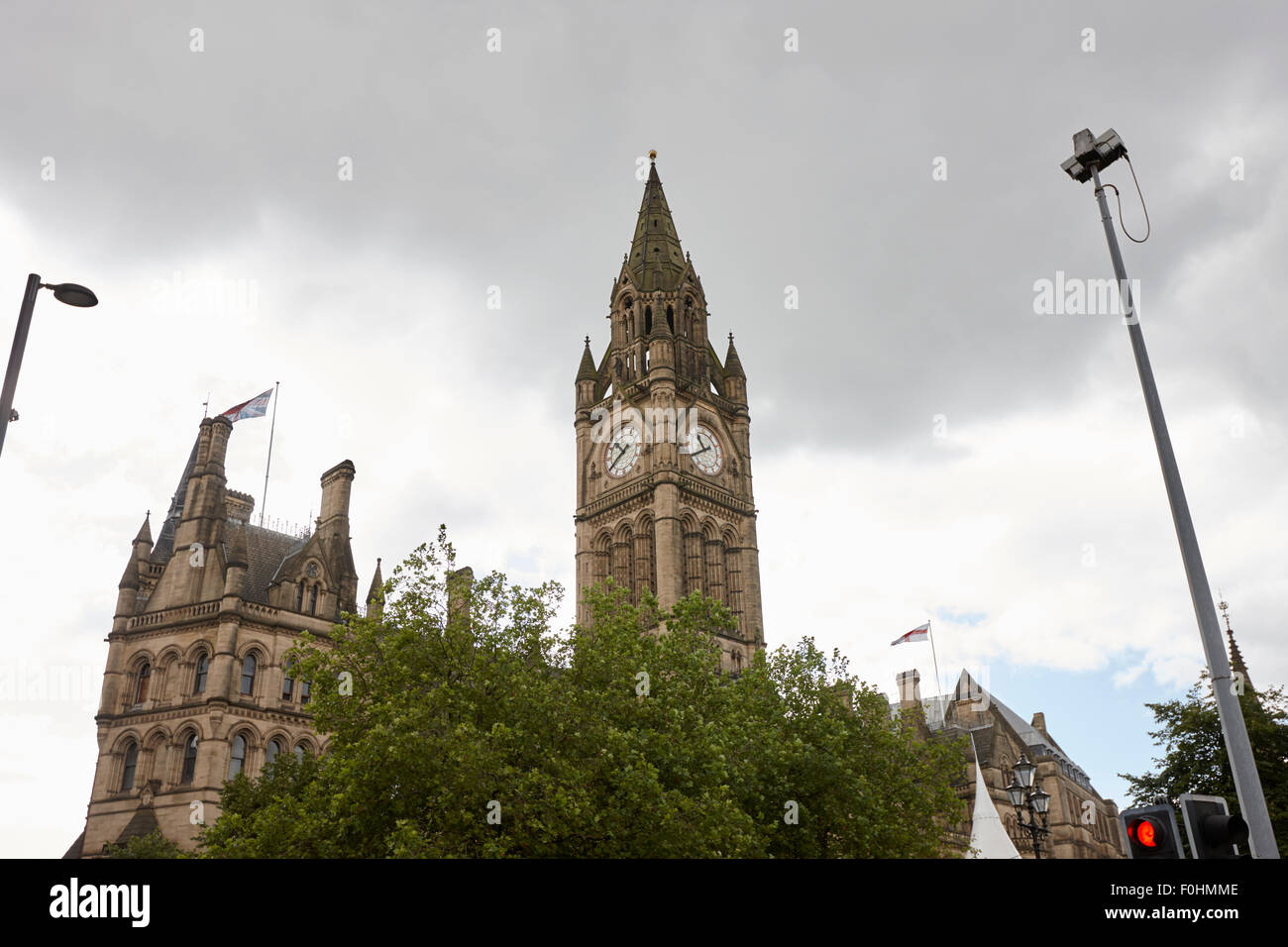 cctv camera outside Manchester town hall England UK - Stock Image