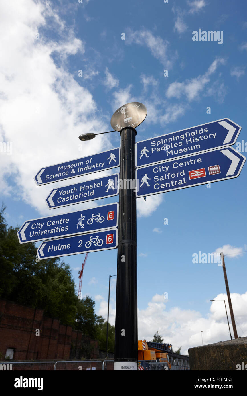 tourist information and walking route distances in castlefield Manchester England UK - Stock Image