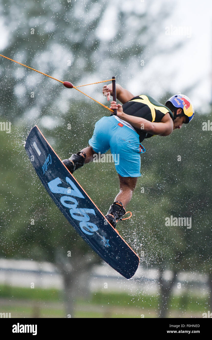 Wakeboarding, Wakeskating National Championship at Miami Watersports Complex, Amelia Earhart Park, Hialeah, Florida. - Stock Image