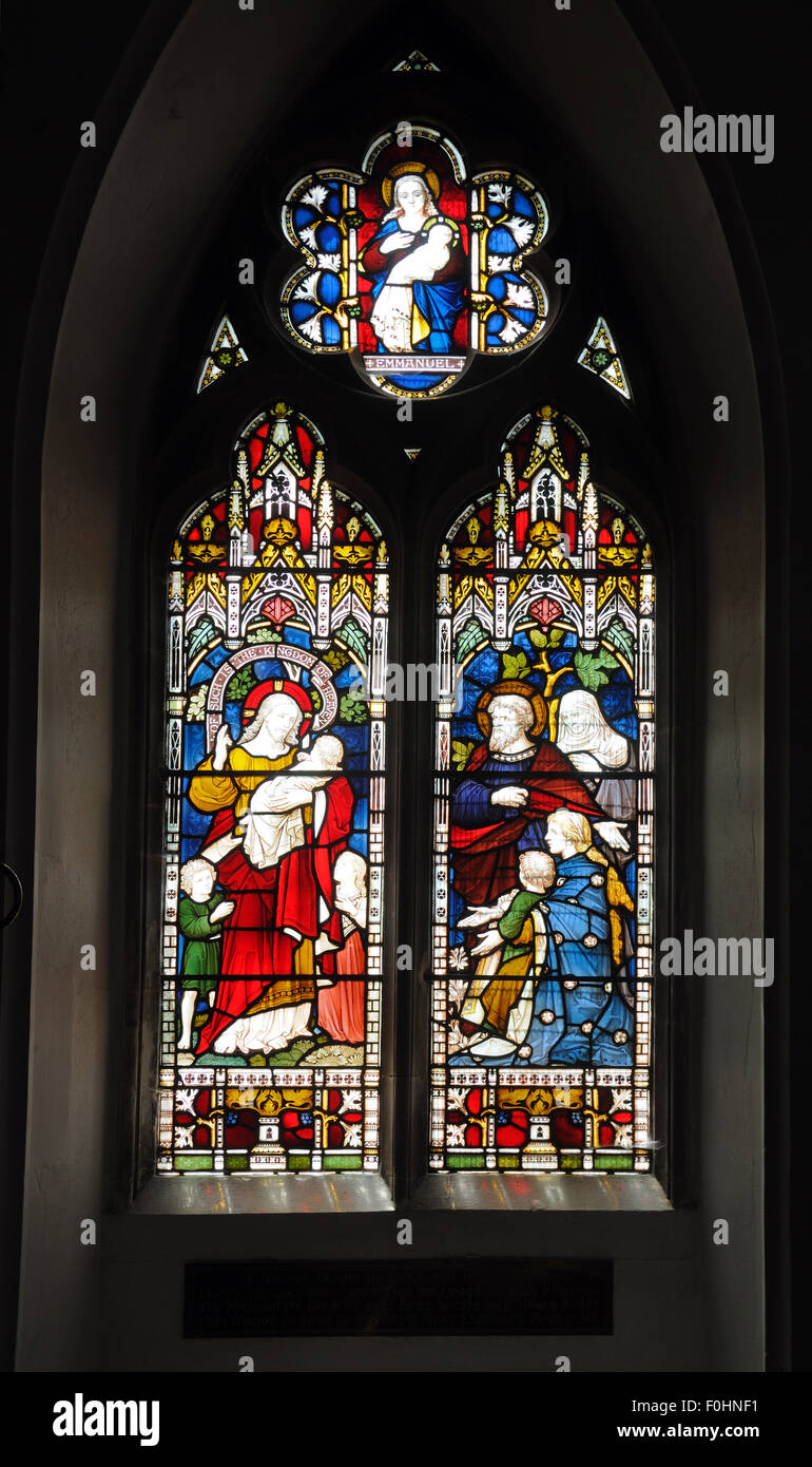 Stained glass window in the Church of St. James the Great, Great Saling, Essex, England Stock Photo