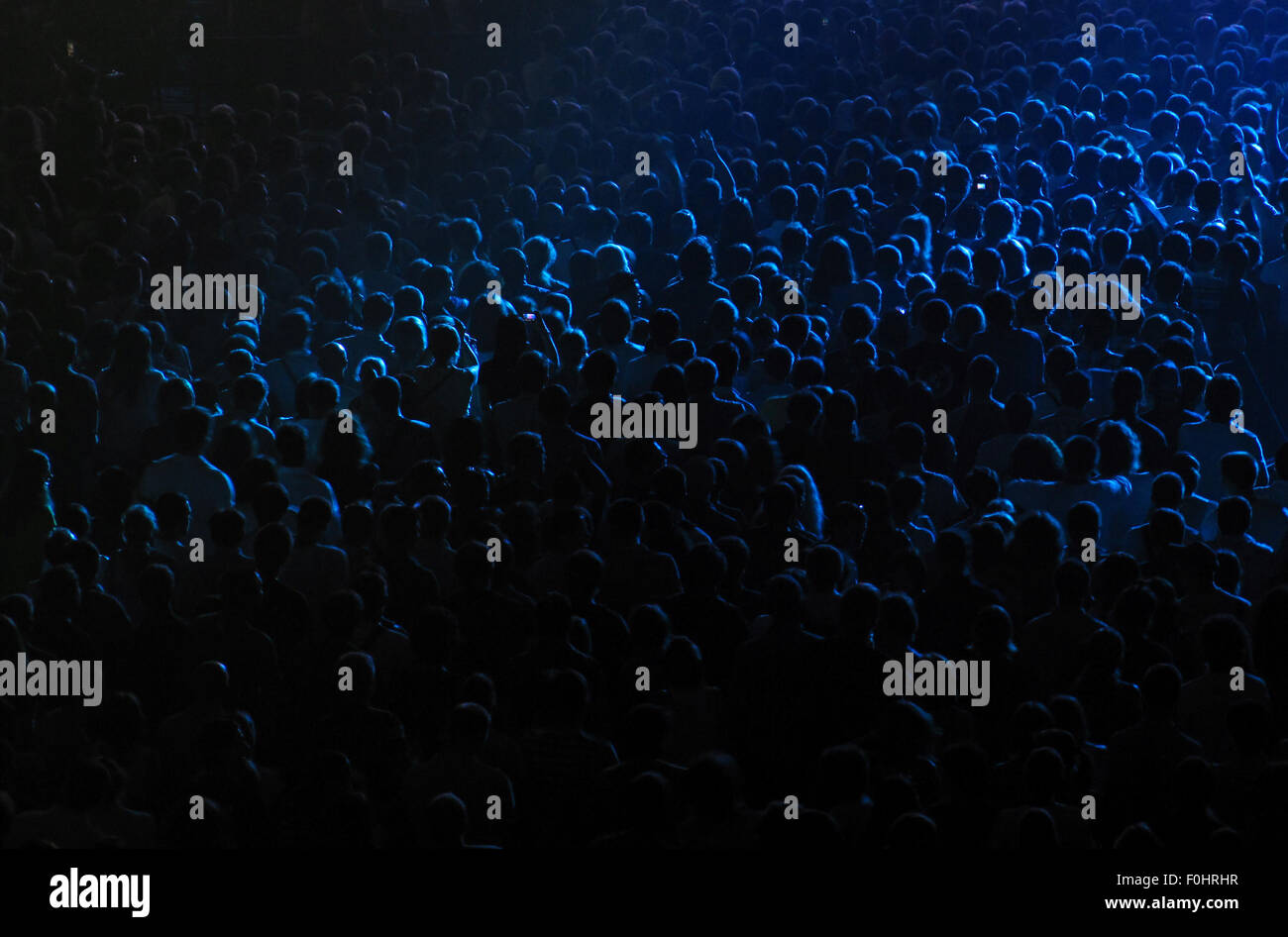 Cheering crowd at the rock concert in a concert hall - Stock Image