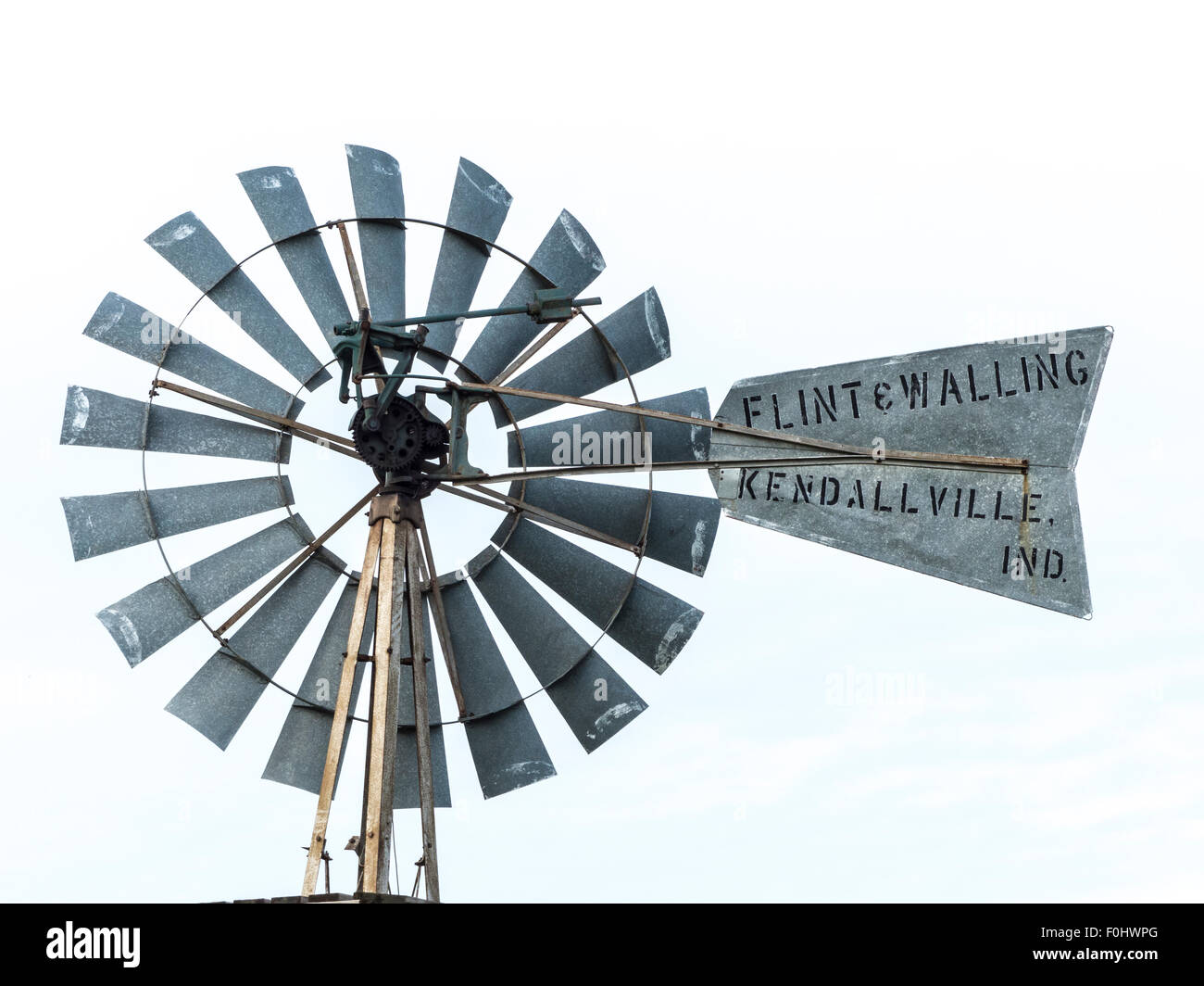 A knockout image Flint and Walling windmill on display at the Mid America  Windmill Museum in Kendallville Indiana - Stock Image