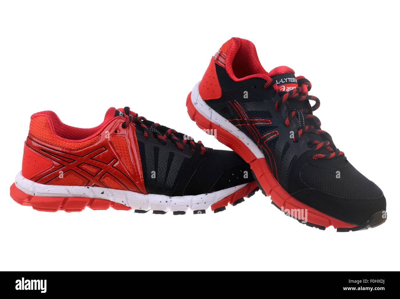 Red and black Asics GEL-Lyte33 2 running shoes cut out isolated on white  background