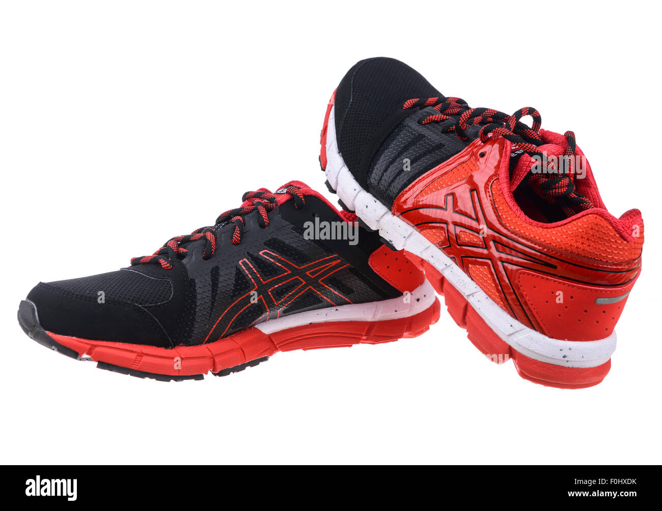 Red and black Asics GEL-Lyte33 2 running shoes cut out isolated on white  background d4e9c3c05