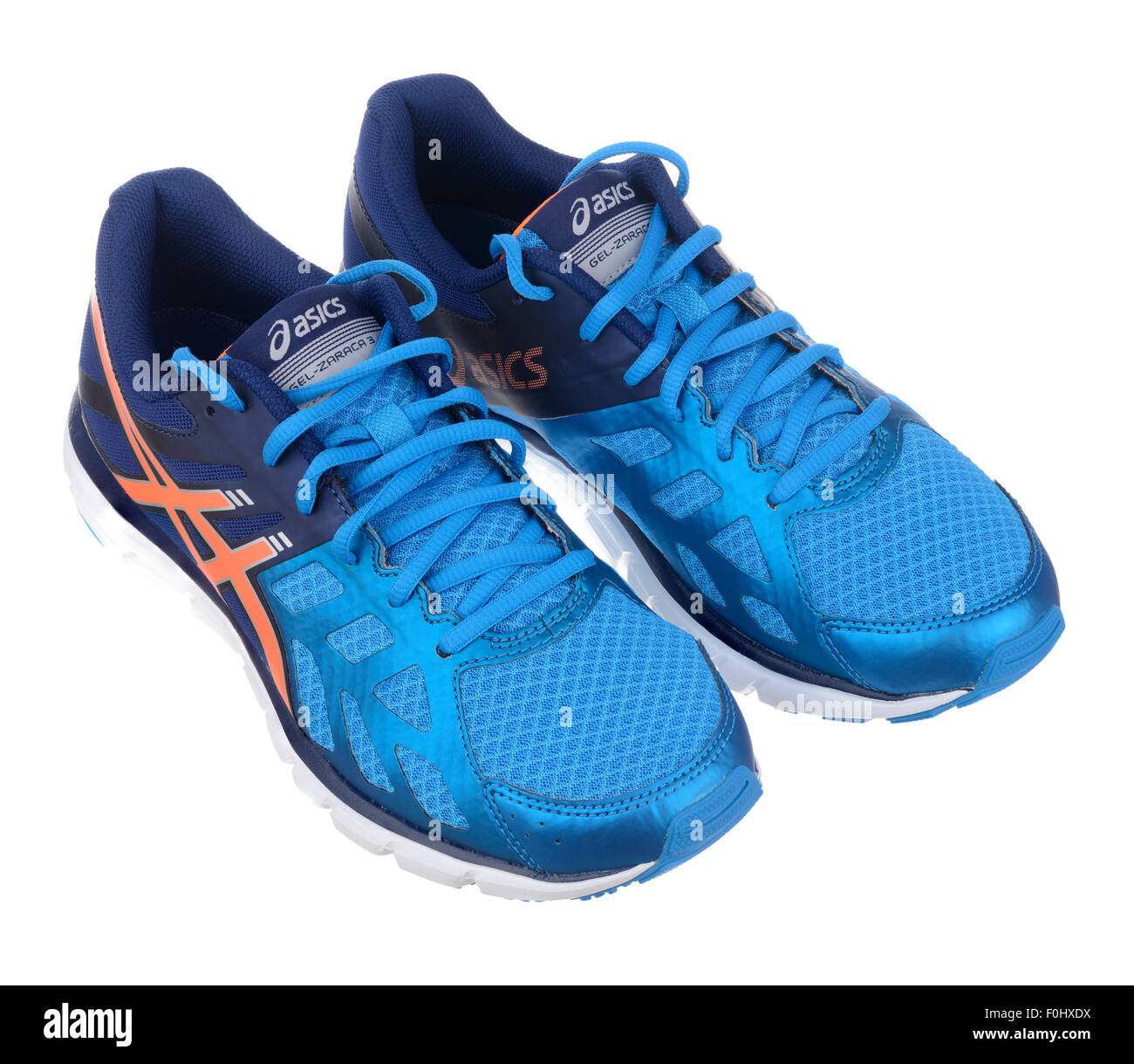 Blue and orange Asics Gel Zaraca 3 running shoes cut out isolated on white  background