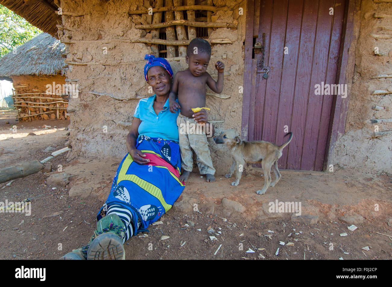 In the Kingdom of Swaziland near the Mozambican border, a child plays with his dog and grandma. - Stock Image
