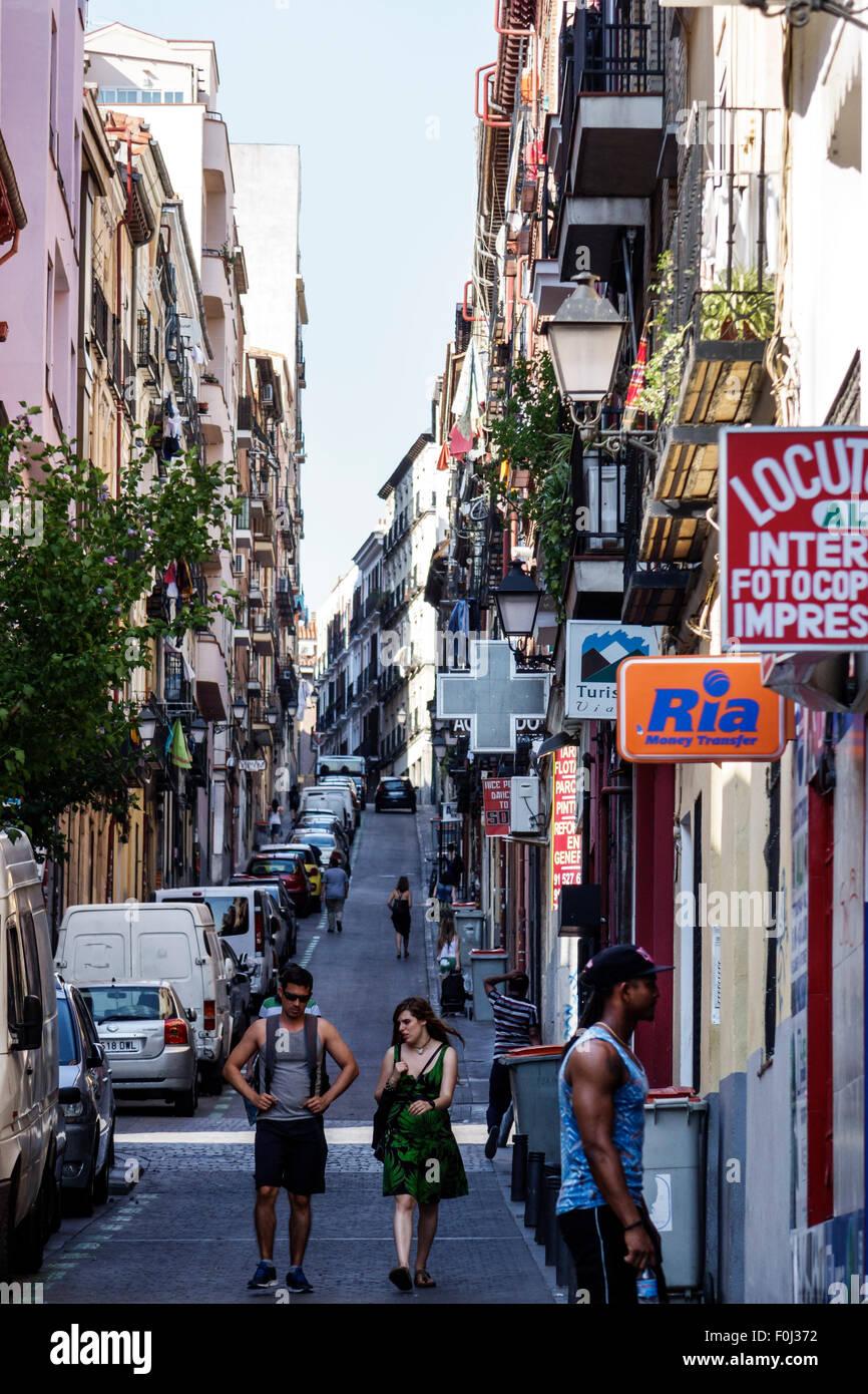 Madrid Spain Europe Spanish Centro Lavapias Calle de Zurita narrow street pedestrians - Stock Image