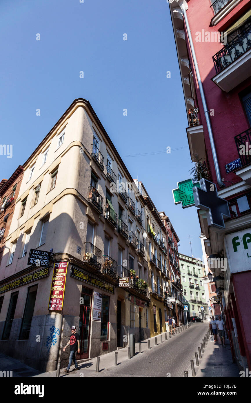 Madrid Spain Europe Spanish Centro Lavapias Calle de la Fe city skyline buildings narrow street - Stock Image