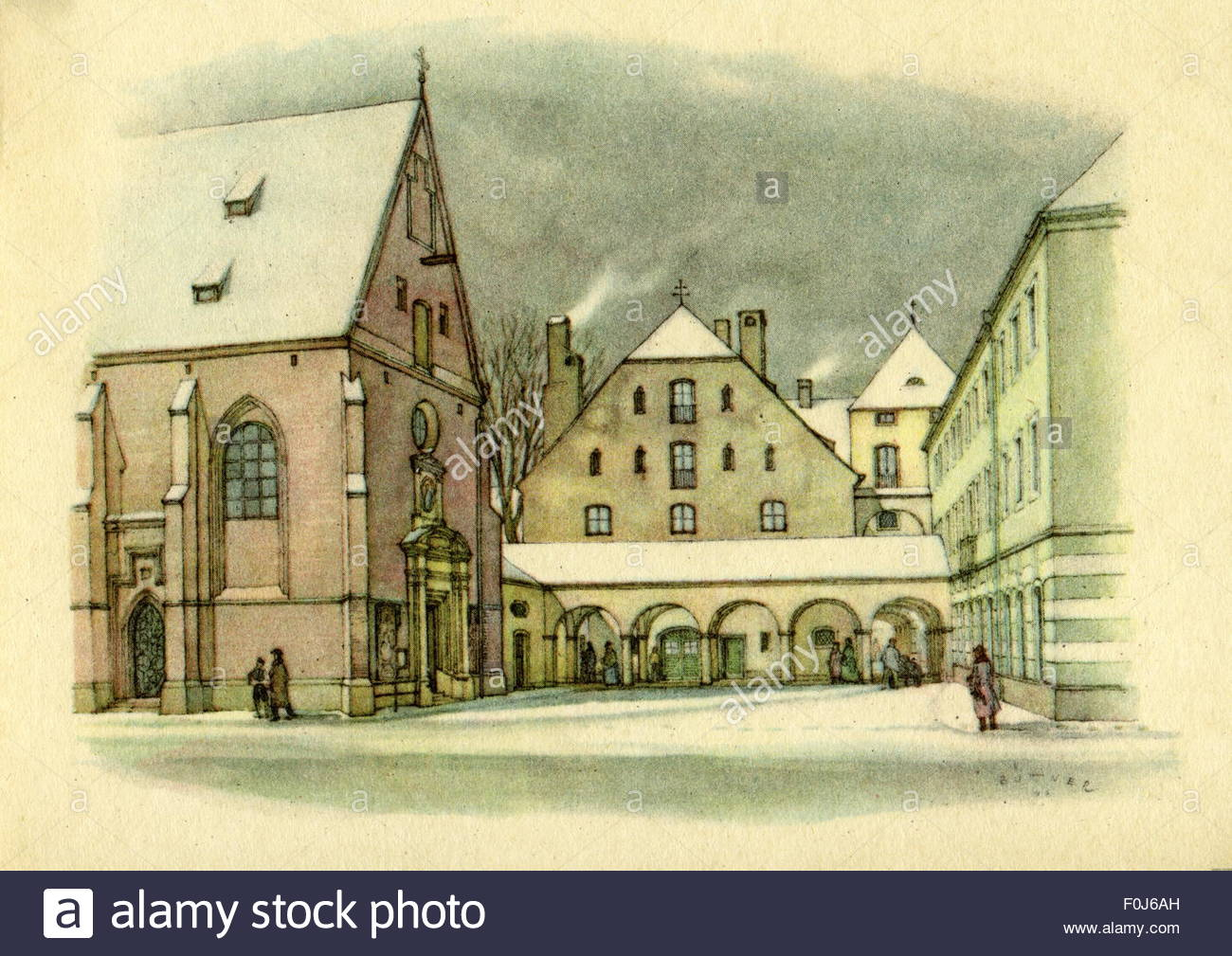 geography/travel, Germany, Munich, churches, All Saints Church, fore court, watercolour by Büttner, circa 1947, - Stock Image