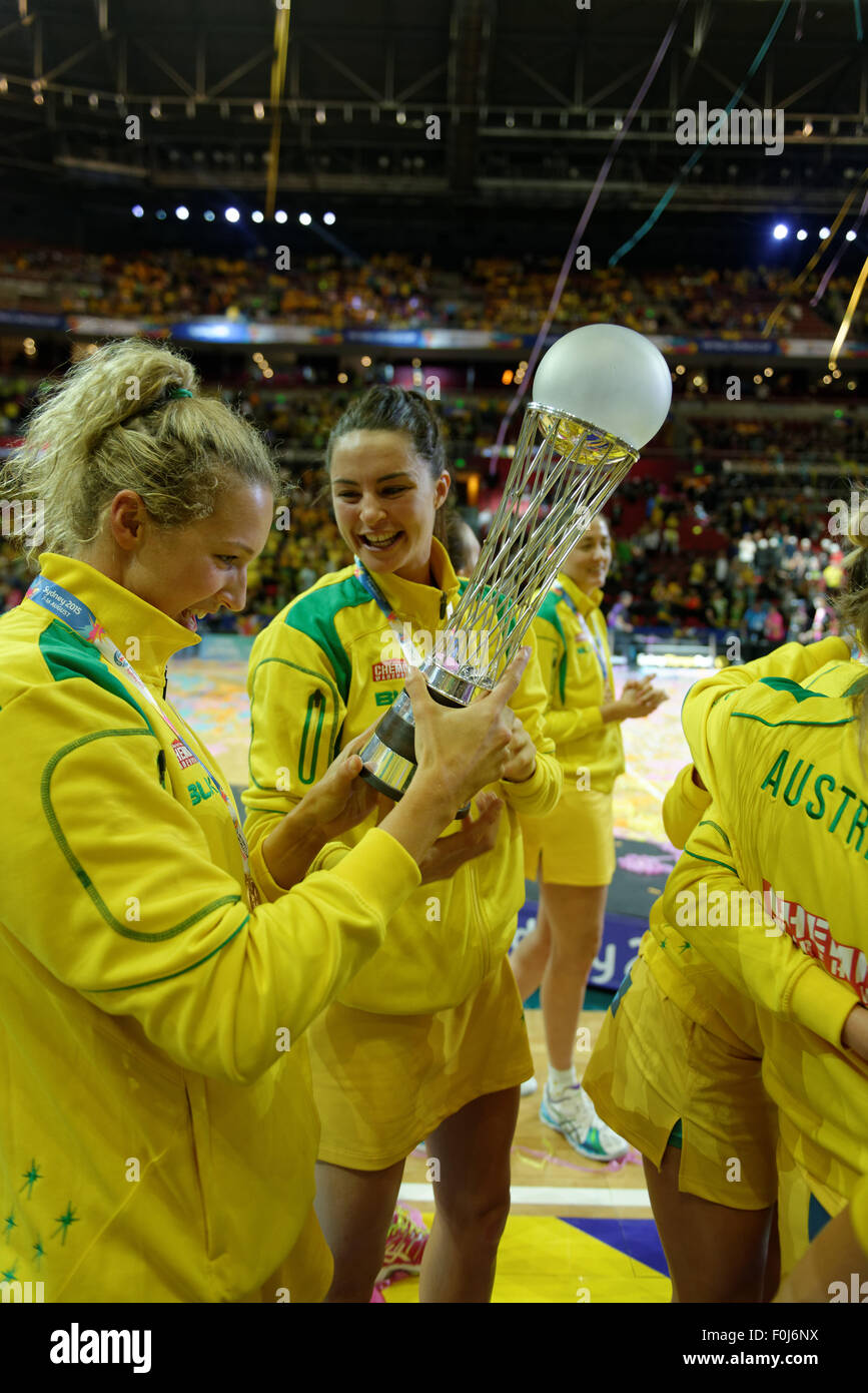 Sydney, Australia. 16th August, 2015. Australia won the Netball World Cup again after a narrow victory against NZ - Stock Image