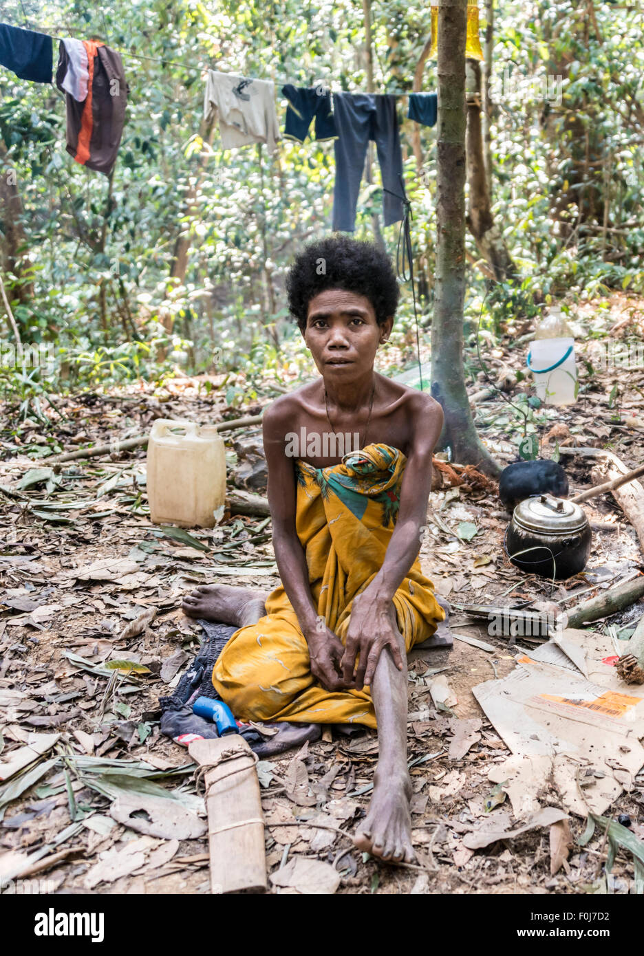 Woman of the Orang Asil tribe sitting in the jungle, natives, indigenous people, tropical rain forest - Stock Image