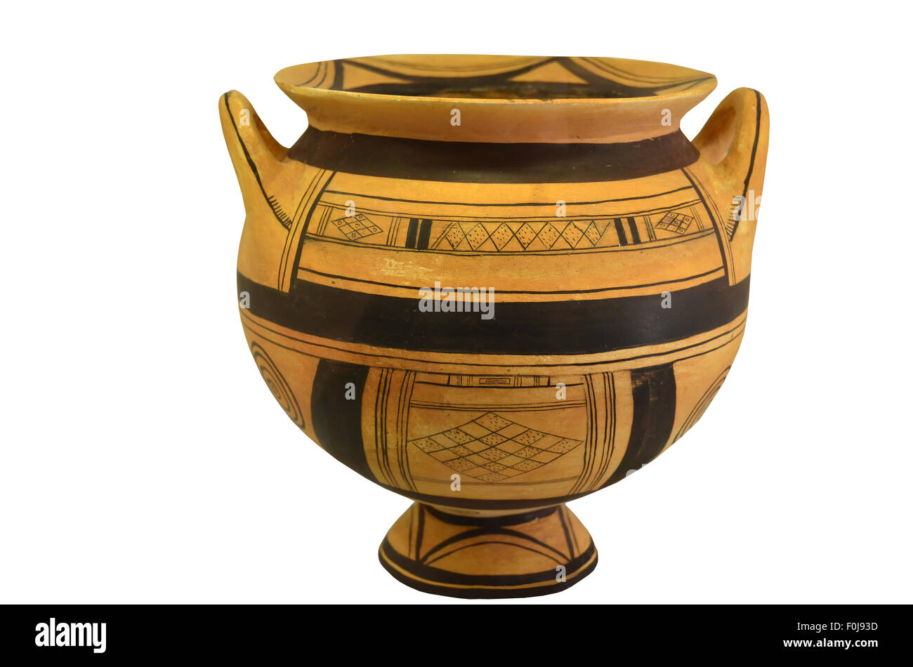 An ancient greek vase from the geometric period. Isolation against a white background - Stock Image