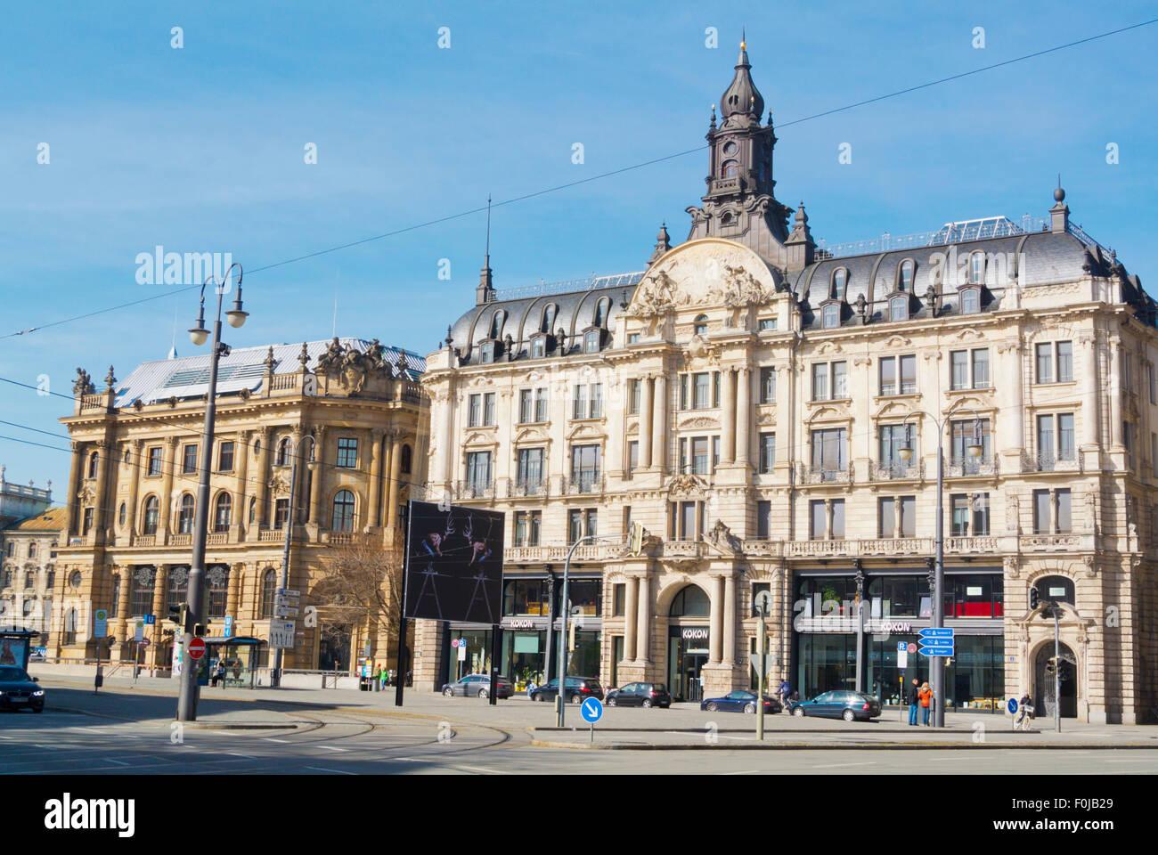 Lenbachplatz, next to Karlsplatz, Munich, Bavaria, Germany - Stock Image