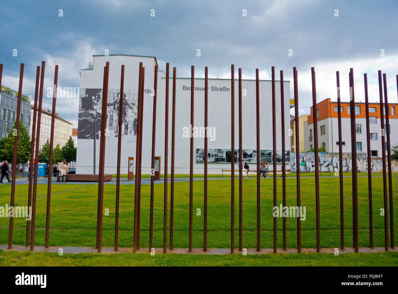 Former wall, Bernauer Strasse, Mitte, Berlin, Germany - Stock Image