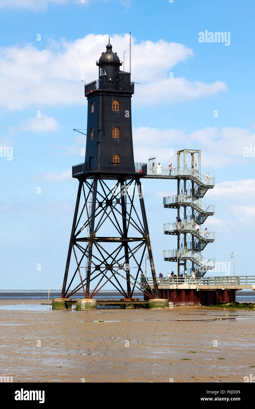Obereversand lighthouse at Dorum-Neuwerk on the german wadden sea coast - Stock Image